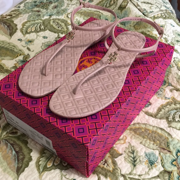 5075a061a401b Tory Burch Marion Quilted T-Strap Sandal Clay Pink